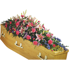 Coffin Spray in Pink with Lilies